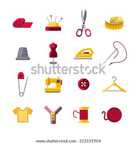 Sewing icons set with hanger shears pin cushion isolated  illustration - stock photo