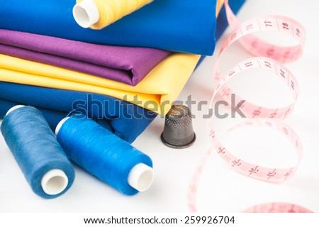 Sewing kit on a white background