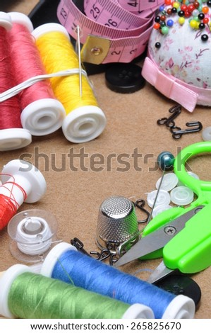 Sewing kit tailor's tools scissors, spool of thread, needle, thimble
