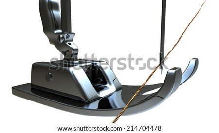 Sewing machine and thread rolling for adv or others purpose use - stock photo