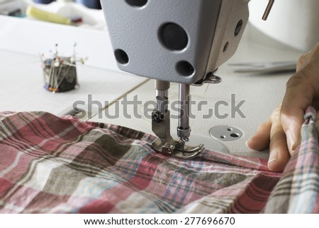 Sewing machine close up.