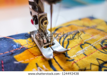 Sewing machine closeup - stock photo