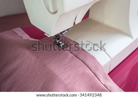 Sewing machine is ready for operation top view - stock photo