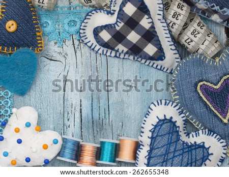 sewing material - stock photo