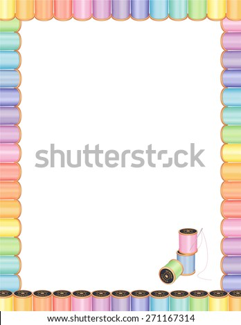 Sewing Needle and Threads Poster Frame, spools of multicolor pastel thread, embroidery needle, blank letterhead stationery design for DIY sewing, tailoring, quilting, needlework, crafts, flyers. - stock photo