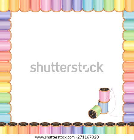 Sewing Needle and Threads Poster Frame, spools of multicolor pastel thread,  embroidery needle, square blank design for DIY sewing, tailoring, quilting, needlework, craft, flyers and announcements. - stock photo
