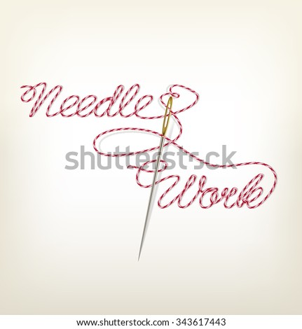 Sewing needle with red thread Needle Work. Illustration
