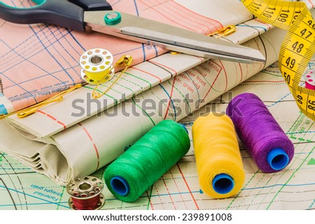 Sewing on the background of pattern - stock photo