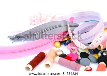 Sewing set isolated on white background. - stock photo