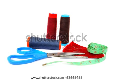 Sewing Supplies isolated on the white background - stock photo