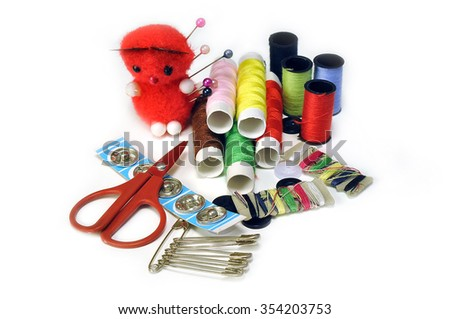 Sewing Supplies on a white background