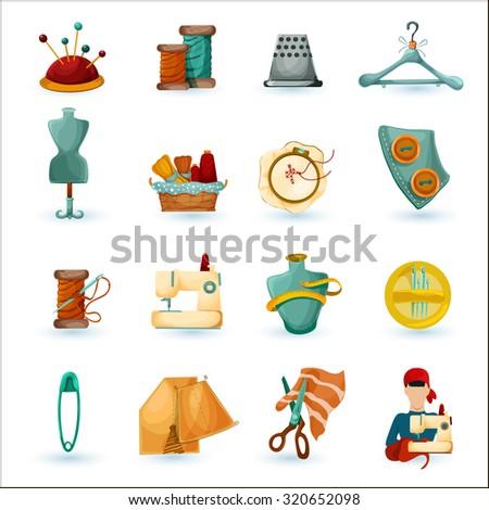 Sewing tailoring and needlework decorative icons set isolated  illustration - stock photo