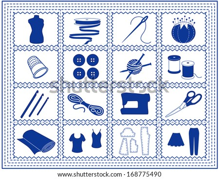 Sewing, Tailoring, Knit, Crochet Icons. Model, ribbon, needle, thread, pincushion, thimble, buttons, sewing machine, scissors, fabric, patterns, for do it yourself crafts, hobbies, blue stitch frame.  - stock photo