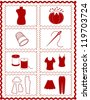 Sewing, Tailoring Tools for dressmaking, textile arts, do it yourself crafts, hobbies, fashion model, pincushion, straight pins, thimble, needle, thread, clothes patterns, red rick rack frame border. - stock photo