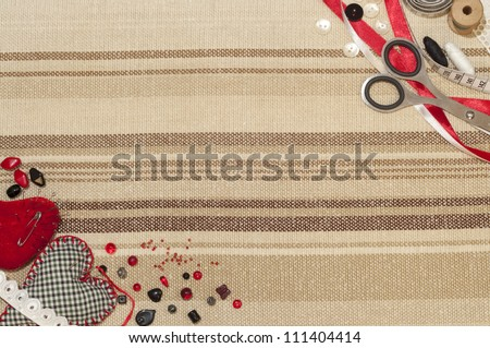 Sewing theme. The picture of different sewing objects. Can be used as wallpaper. - stock photo
