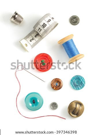 sewing tools and accessories isolated on white background - stock photo