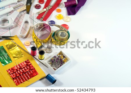Sewing tools as background - stock photo