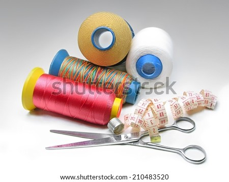 Sewing tools background. - stock photo
