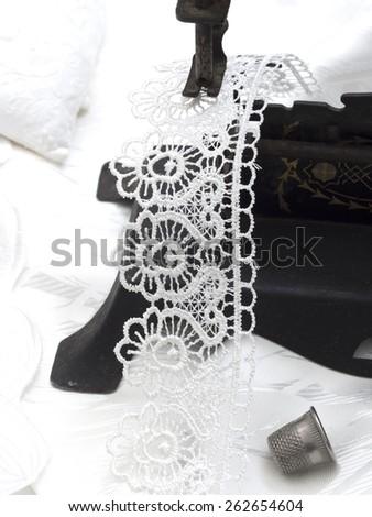 sewing white textile - stock photo