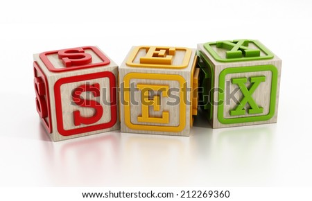Sex education concept with wooden cubes.