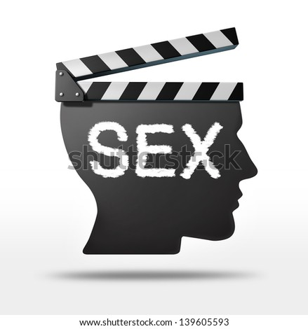 Sex movies and erotic film concept with a movie equipment clapboard shaped as a human head representing the sexual entertainment film industry.