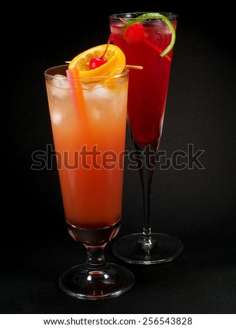 Sex on the Beach and Cherry Vodka - stock photo