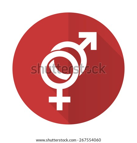 sex red flat icon gender sign  - stock photo