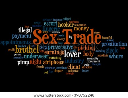 Sex Trade, word cloud concept on black background.