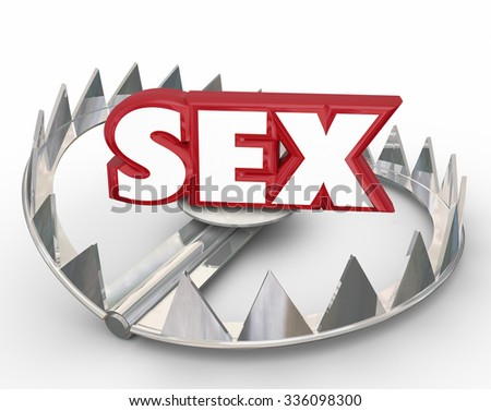 Sex word in red 3d letters in the steel jaws of a bear trap to illustrate danger and risk of casual sexual relationships or affairs - stock photo
