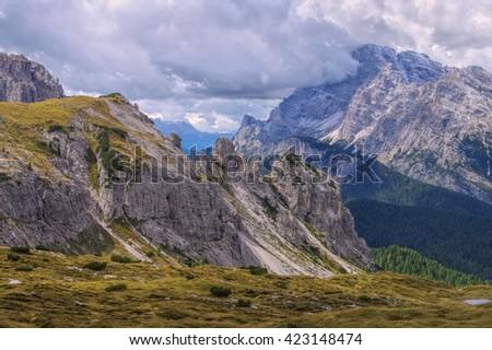 Sexten Dolomites in italian Alps - stock photo
