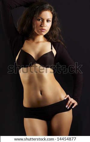 sexual girl n black underclothes - stock photo