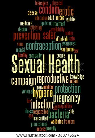 Sexual Health, word cloud concept on black background.