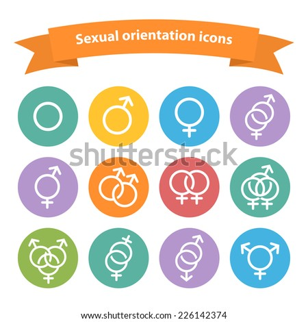 Sexual orientation white web icons,symbol,sign in flat style isolated on a white background - stock photo