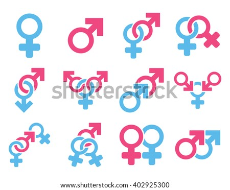 Sexual Relation Symbols raster icon set. Style is bicolor pink and blue flat symbols isolated on a white background.
