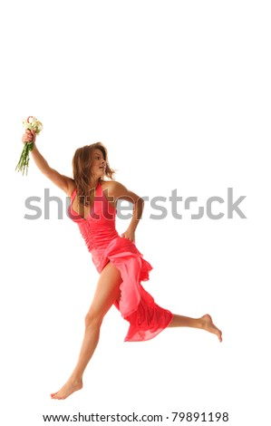 Sexual woman jumping with flowers isolated in white - stock photo