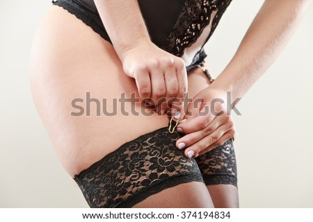 Sexuality and sensuality of women. Part body sexy slim woman wear garter belt and stockings panties. Female wearing black lacy lingerie underwear.