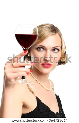 Sexuality WOMAN WITH GLASS RED WINE - stock photo