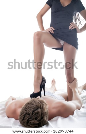 Sexually liberated woman flirting with her lover - stock photo