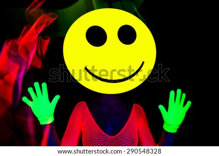 sexy acid house smiley rave dancer - stock photo