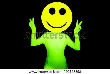 sexy acid house smiley rave dancer - stock photo