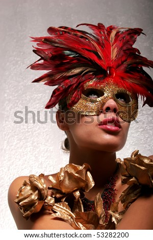 Sexy African American woman in mask - stock photo