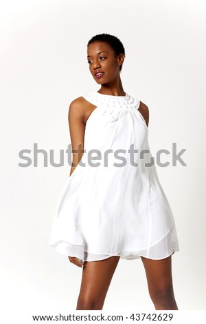 Sexy African American woman in short dress