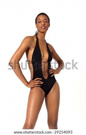 Sexy African American woman in swimsuit - stock photo