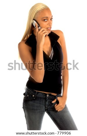 Sexy African American woman with long blond hair and a Honey complexion in a casual fashion with a cell phone