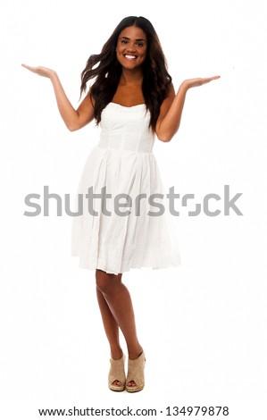 Sexy african female model posing in fancy attire. - stock photo