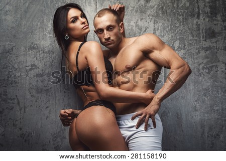 Sexy and fit couple in underwear