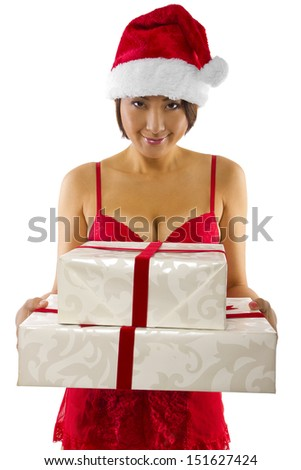 sexy asian female in red lingerie receiving a gift - stock photo