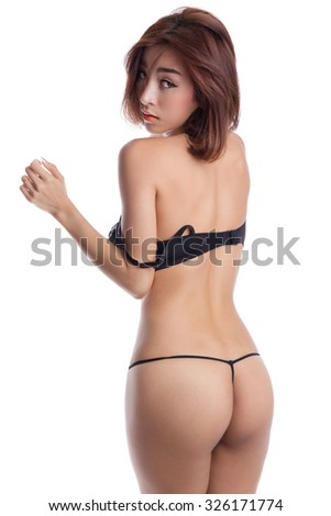 Sexy asian woman wearing black underwear, isolated on white background - stock photo