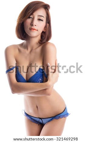 Sexy asian woman wearing blue underwear, isolated on white background