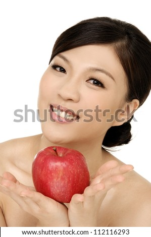 sexy asian young woman holding one apple